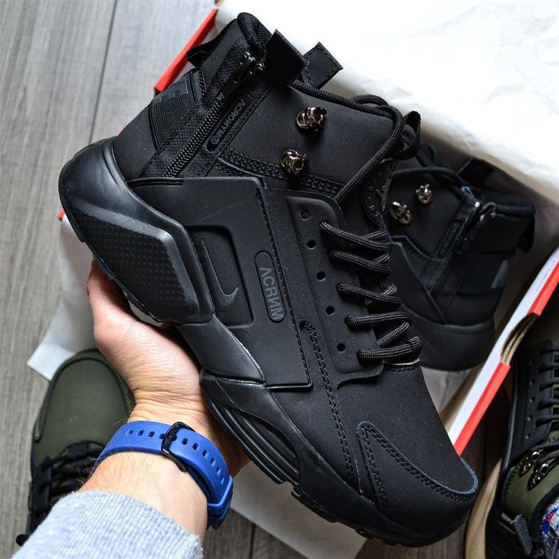 Nike huarache x acronym city mid black шикарные мужские ботинк...