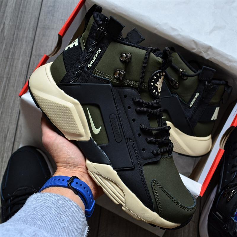Nike huarache x acronym city mid khaki шикарные мужские ботинк...