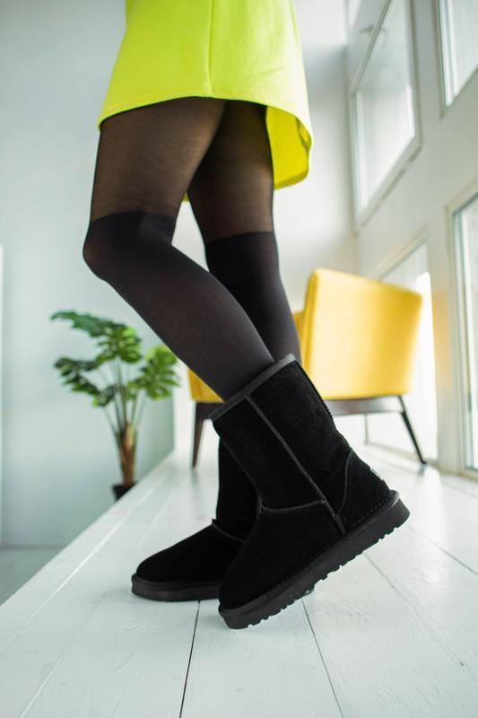 Ugg classic black 2 замшевые шикарные женские сапоги угги чёрн...