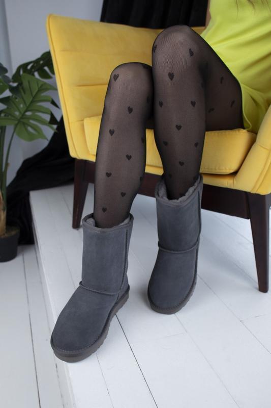 Ugg classic grey 2 замшевые шикарные женские сапоги угги серые... - Фото 2
