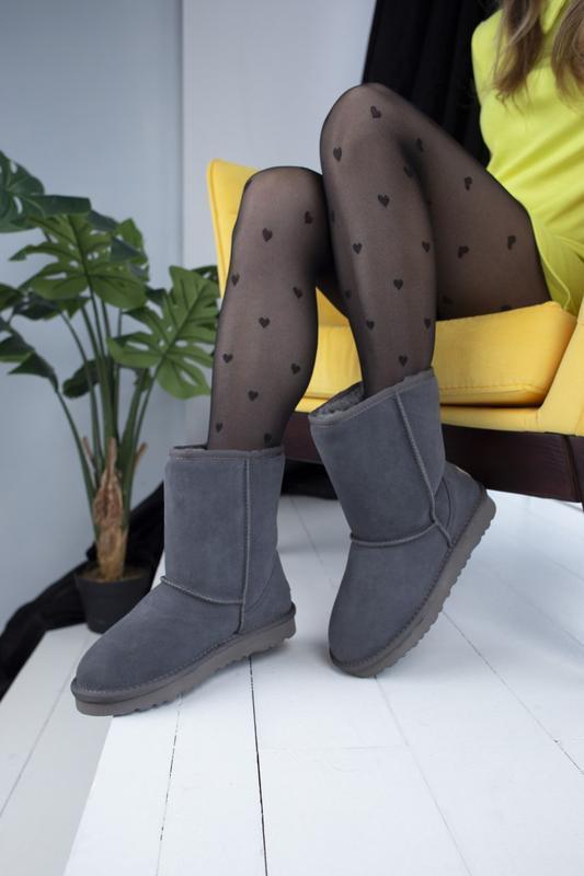 Ugg classic grey 2 замшевые шикарные женские сапоги угги серые... - Фото 5