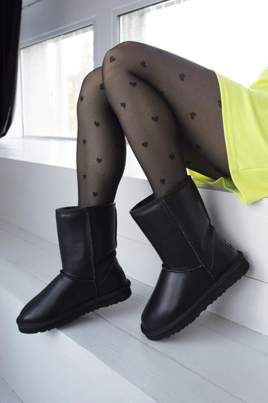 Ugg classic black 2 шикарные женские сапоги угги чёрные с мехо...