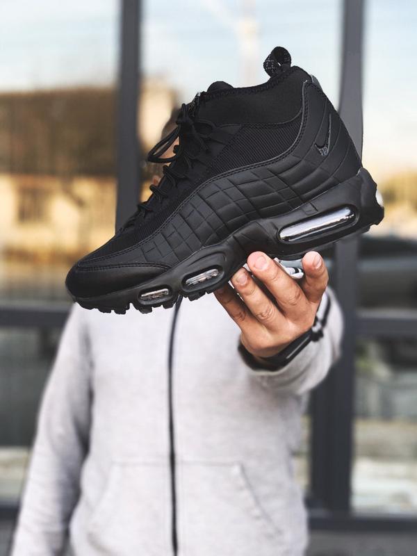 Nike air max 95 sneakerboot black шикарные мужские ботинки чёр...