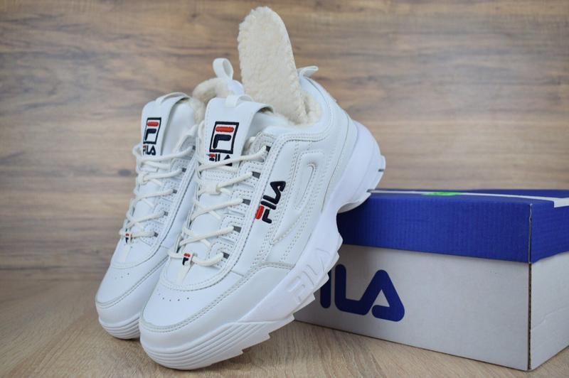 Fila disruptor 2 белые с мехом шикарные женские кроссовки с ме...