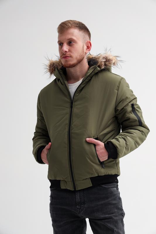 Зимняя куртка с мехом топ-качества хаки зимняя мужская
