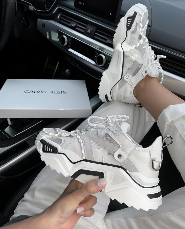Calvin klein white шикарные женские кроссовки весна лето осень...