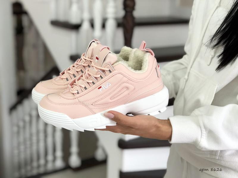 Fila disruptor 2 розовые шикарные женские кроссовки с мехом те...