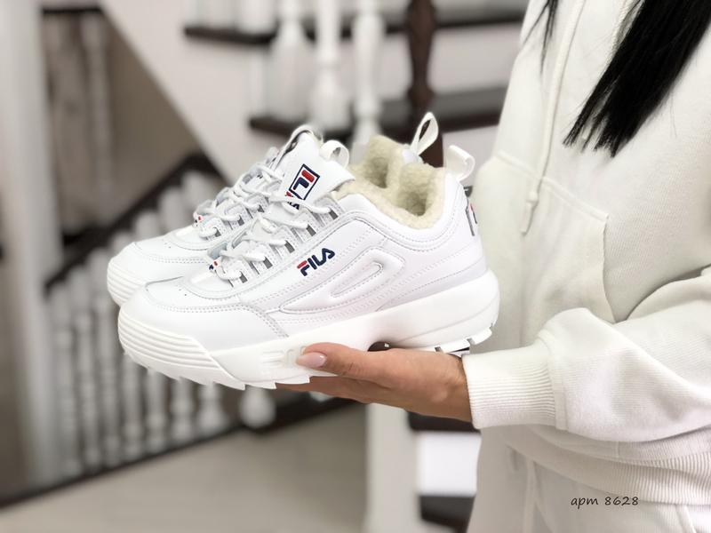 Fila disruptor 2 белые шикарные женские кроссовки с мехом тепл...