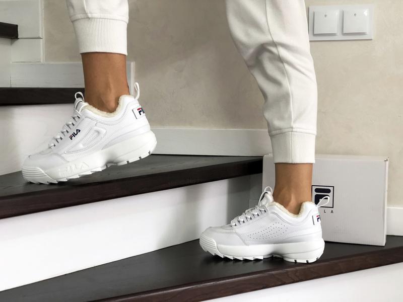 Fila disruptor 2 белые шикарные женские кроссовки с мехом тепл... - Фото 2