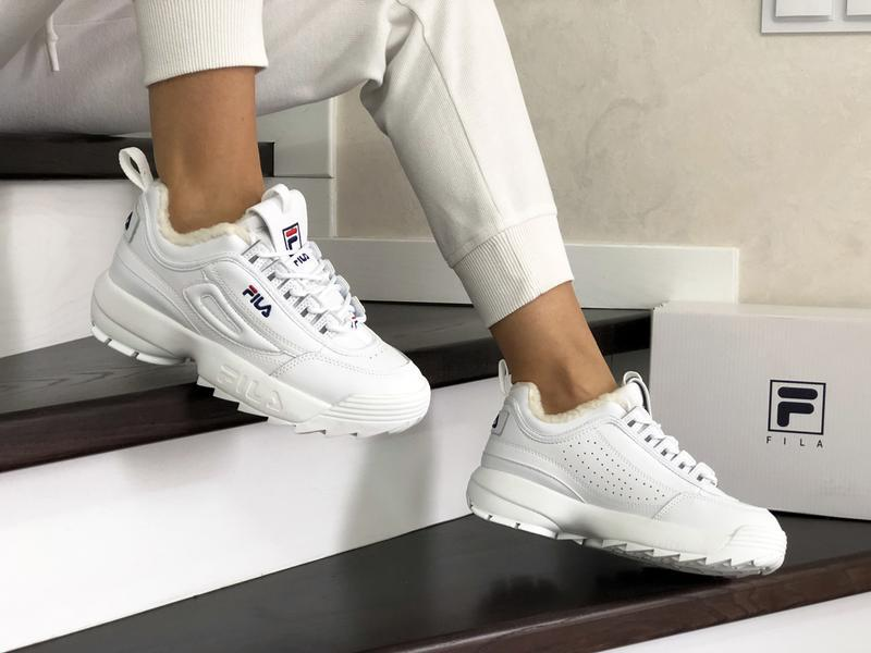 Fila disruptor 2 белые шикарные женские кроссовки с мехом тепл... - Фото 3