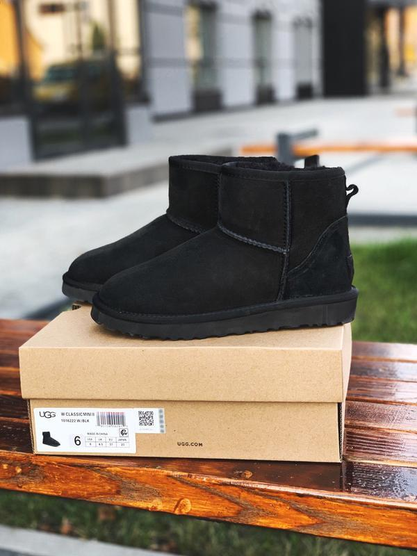 Ugg classic mini black suede шикарные женские сапоги угги чёрн...