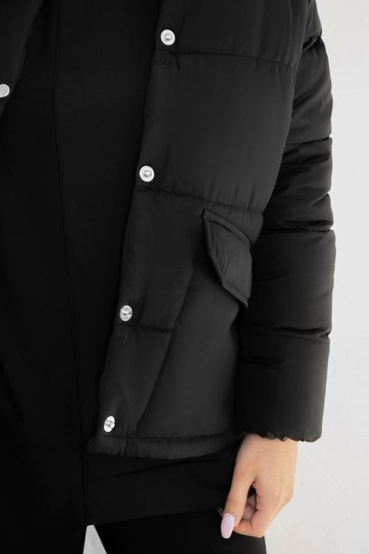 Женская куртка чёрная зимняя - Фото 5
