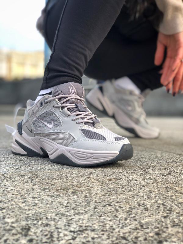 Nike m2k tekno grey серые шикарные женские кроссовки весна лет...