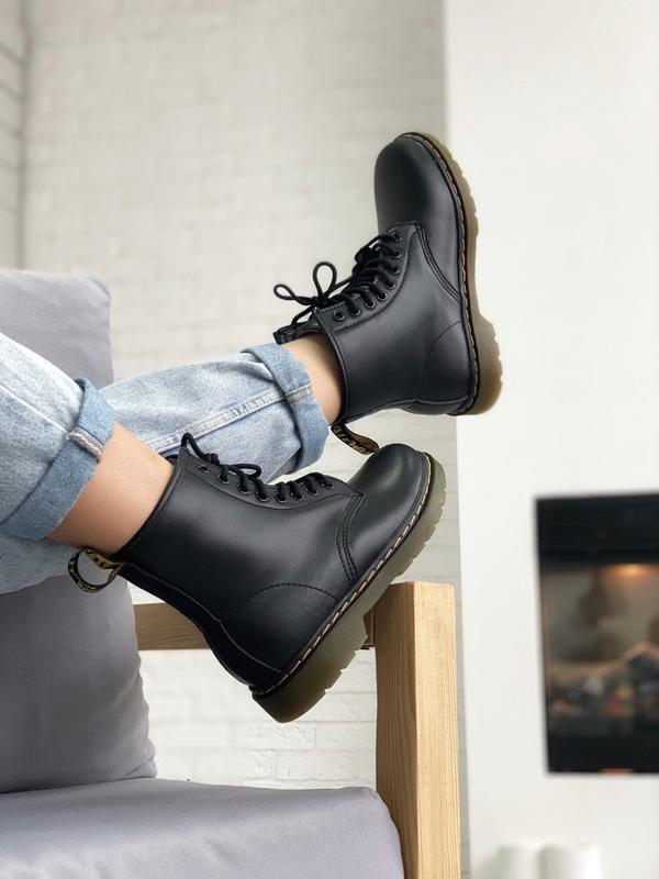 😊dr. martens 1460 black fur🤗 женские ботинки с мехом зимние те...