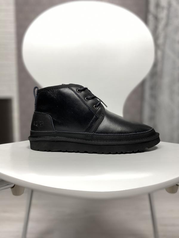 😊ugg neumel black leather🤗 мужские сапоги угги чёрные с мехом ...