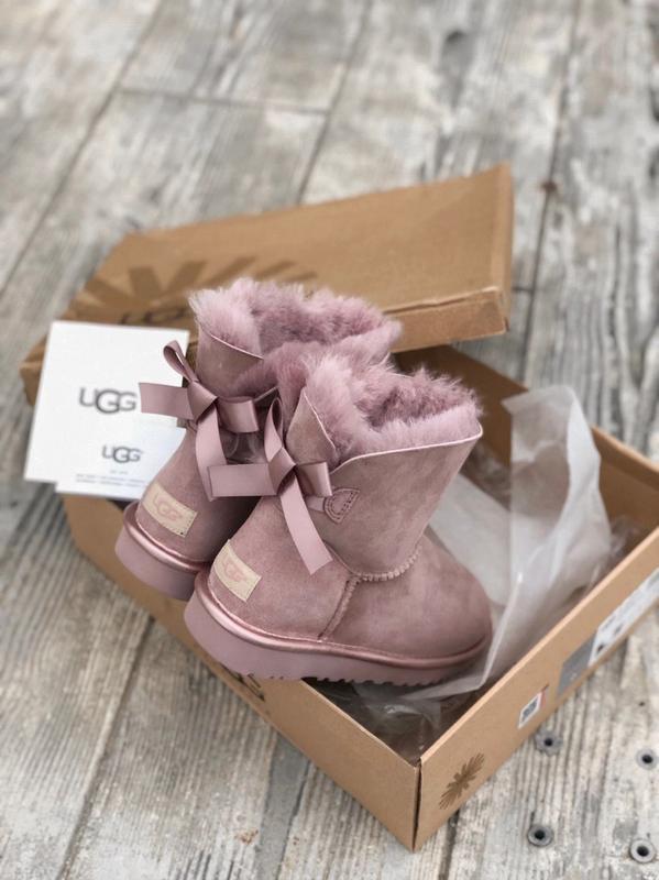 😊ugg bailey bow mini pink🤗 шикарные женские сапоги угги розовы...