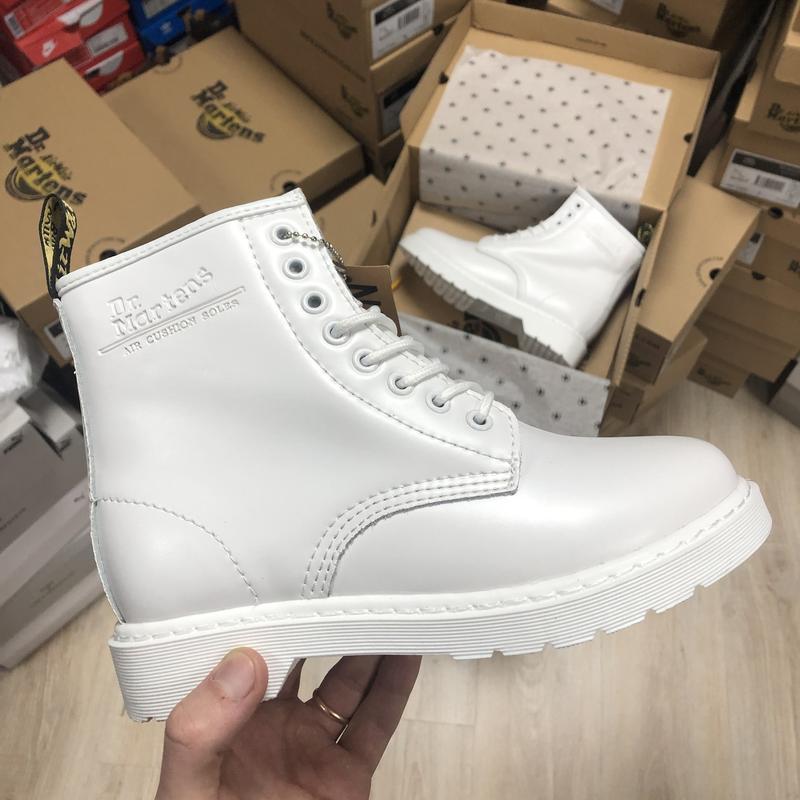 😊dr. martens 1460 mono white fur 🤗 шикарные женские ботинки с ...
