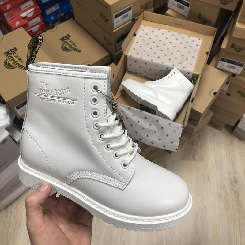 😊dr. martens 1460 mono white fur 🤗 шикарные женские ботинки с ... - Фото 4