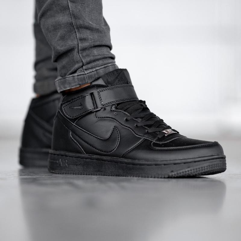 😊nike air force 1 hgih black🤗 мужские кроссовки с мехом кожаные
