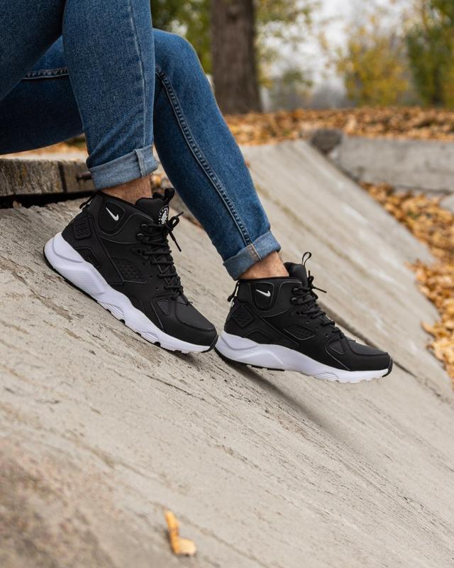 😊nike air huarache winter black white🤗 мужские кроссовки на зи... - Фото 4