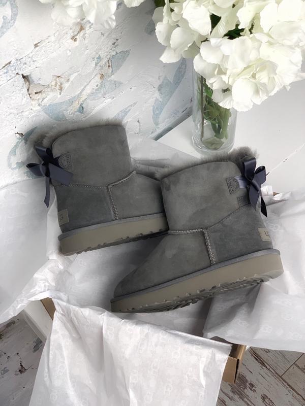 😊ugg bailey bow mini gray🤗 женские сапоги угги серые зимние с ... - Фото 3