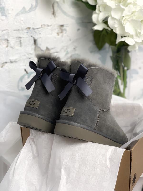 😊ugg bailey bow mini gray🤗 женские сапоги угги серые зимние с ... - Фото 4