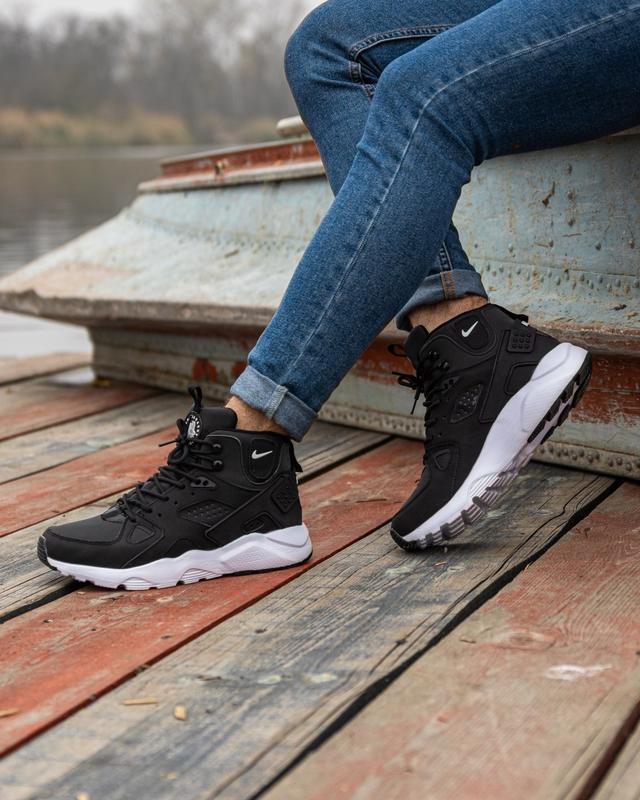 😊nike air huarache winter black white🤗 мужские кроссовки на зи... - Фото 7