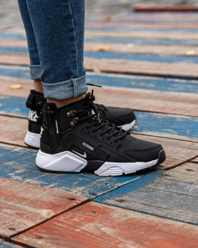 😊nike air huarache x acronym black white🤗 мужские ботинки крос...