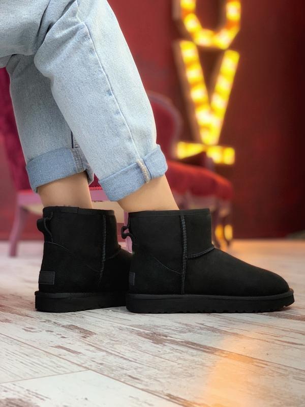 😊ugg mini black 🤗 женские сапоги угги чёрные зимние с мехом