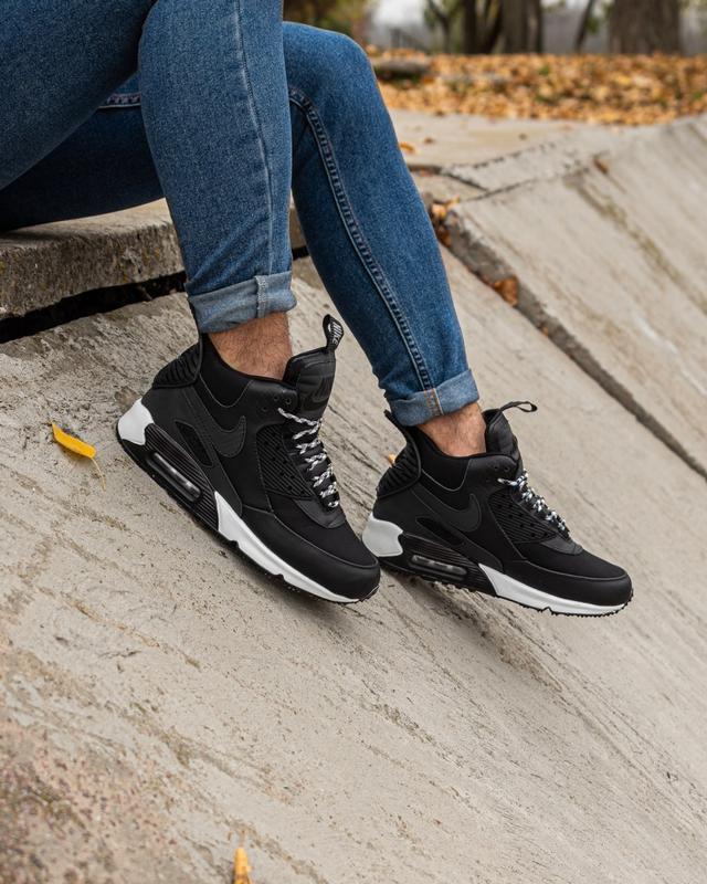 😊nike air max 90 sneakerboot black white🤗 мужские кроссовки ос...