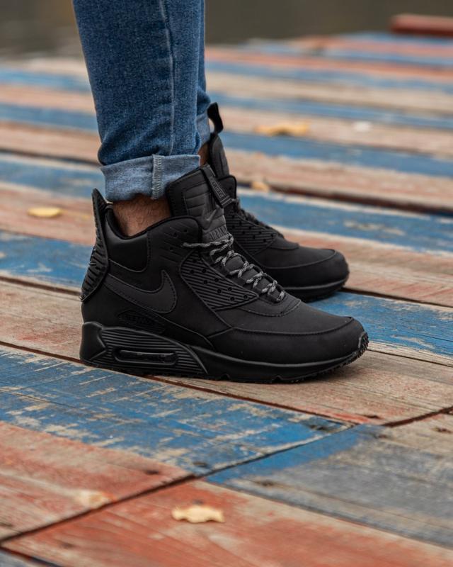 😊nike air max 90 sneakerboot black🤗 мужские кроссовки осень / ... - Фото 6
