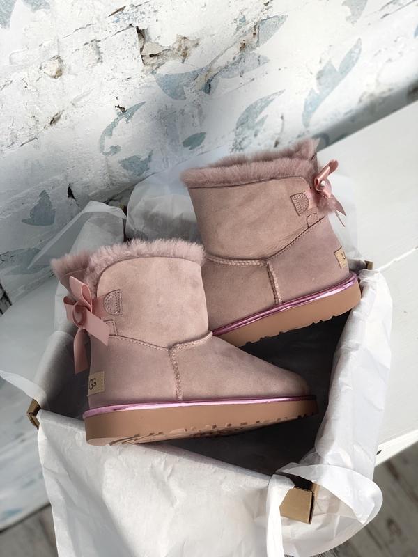 😊ugg bailey bow mini pink🤗 женские сапоги угги розовые зимние ...