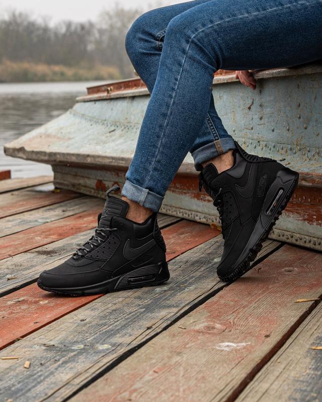 😊nike air max 90 sneakerboot black🤗 мужские кроссовки осень / ... - Фото 7