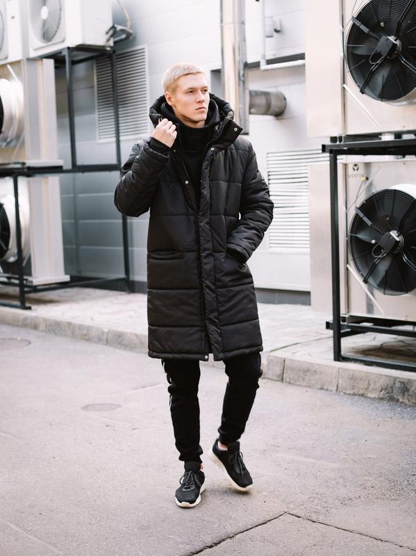 😊зимняя мужская куртка🤗 теплая чёрная удлиненная до -25 градусов!