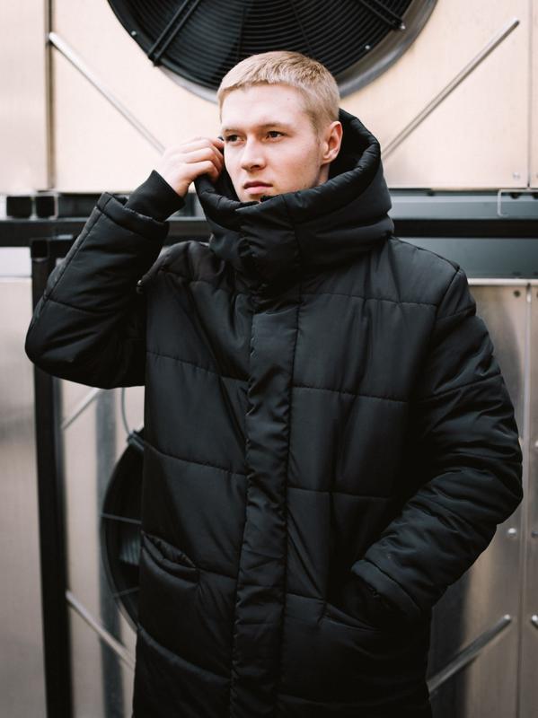 😊зимняя мужская куртка🤗 теплая чёрная удлиненная до -25 градусов! - Фото 4