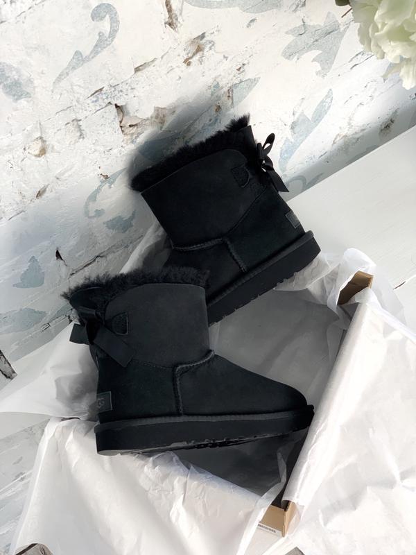 😊ugg bailey bow mini black 🤗 женские сапоги угги чёрные зимние...