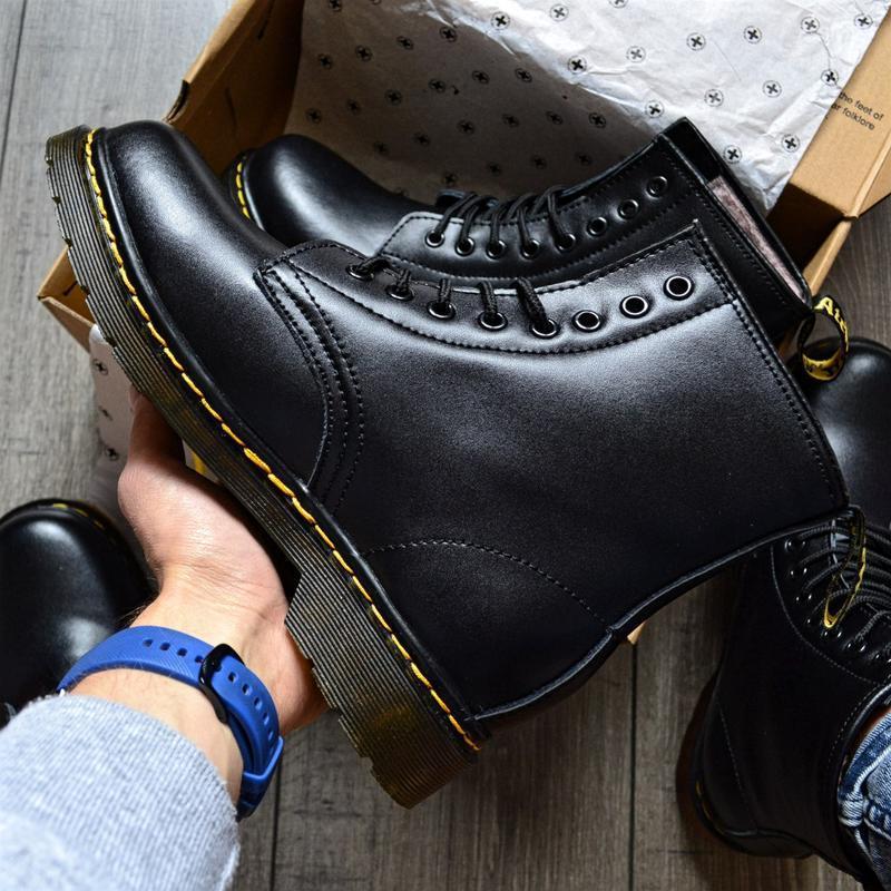 😊ботинки dr. martens 1460 fur 🤗 женские ботинки мартинсы чёрны... - Фото 4