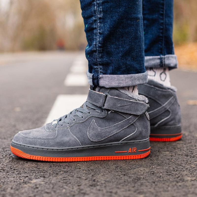 😊nike air force winter grey 1 high🤗 женские кроссовки с мехом ...
