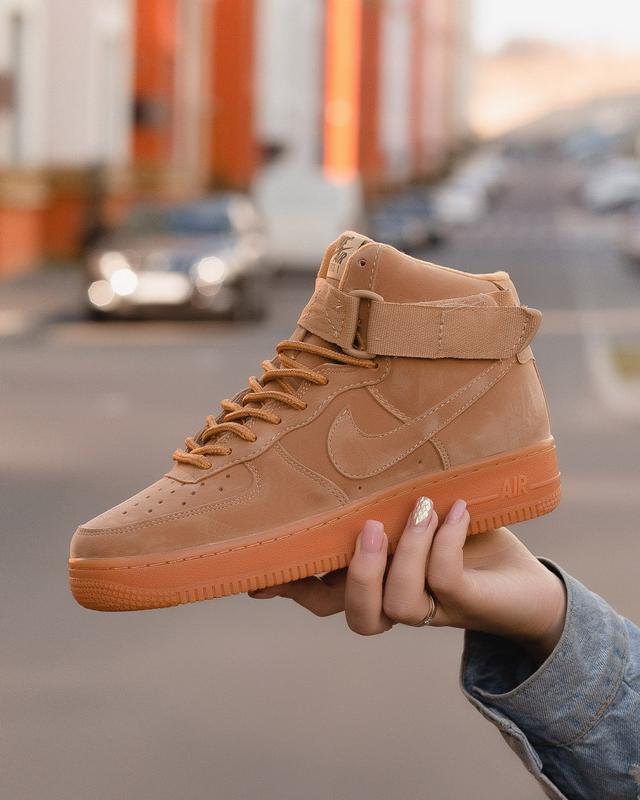 😊nike air force brown 1 high🤗 женские кроссовки найк высокие
