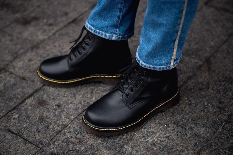 😊dr. martens 1460 black fur🤗 женские ботинки мартинс с мехом ч... - Фото 3