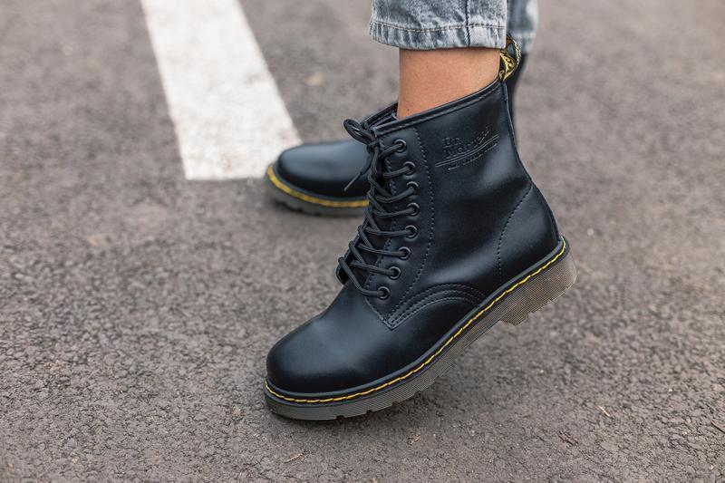 😊dr.martens 1460 black🤗 женские ботинки мартинс чёрные без мех... - Фото 3
