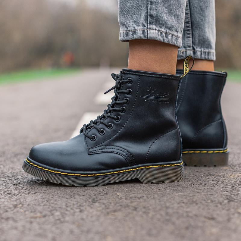 😊dr.martens 1460 black🤗 женские ботинки мартинс чёрные без мех... - Фото 4