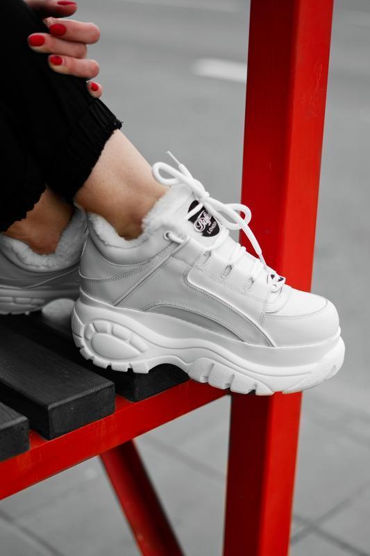 😊buffalo london white fur🤗 женские кроссовки баффало с мехом б...