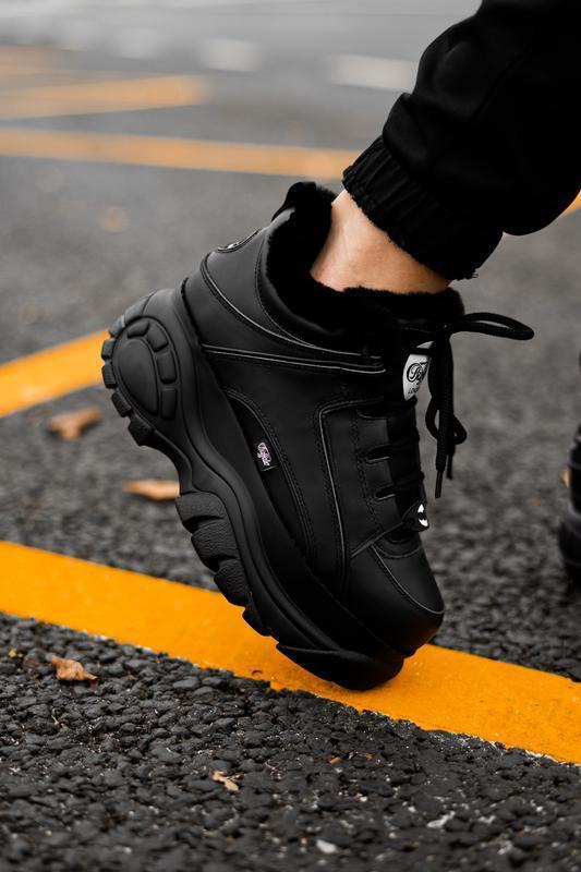 😊buffalo london black fur🤗 женские кроссовки баффало с мехом ч...
