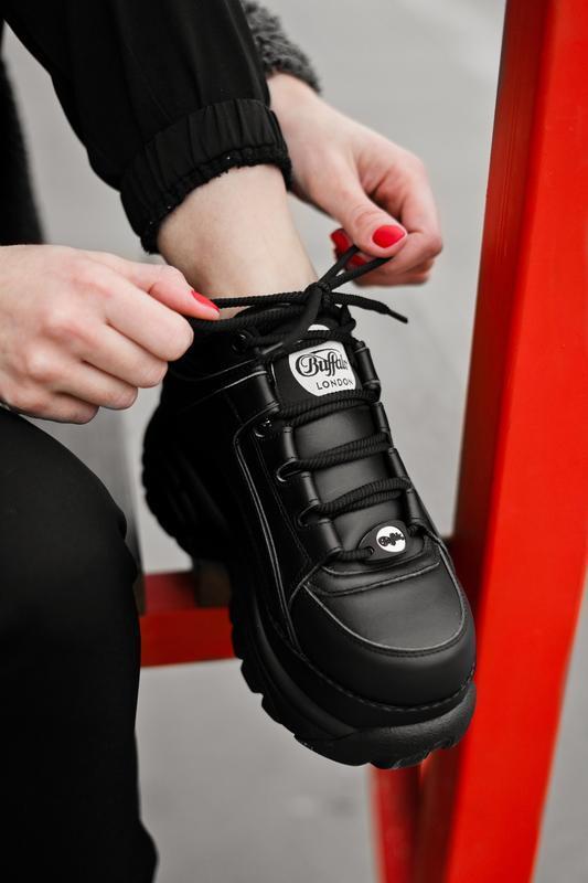 😊buffalo london black🤗 женские кроссовки баффало чёрные весна ... - Фото 2