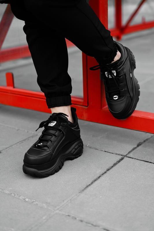 😊buffalo london black🤗 женские кроссовки баффало чёрные весна ... - Фото 3