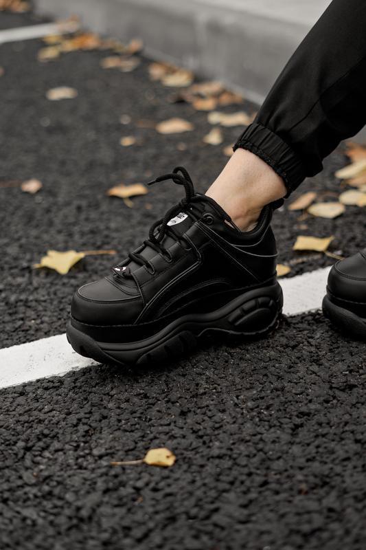😊buffalo london black🤗 женские кроссовки баффало чёрные весна ... - Фото 4