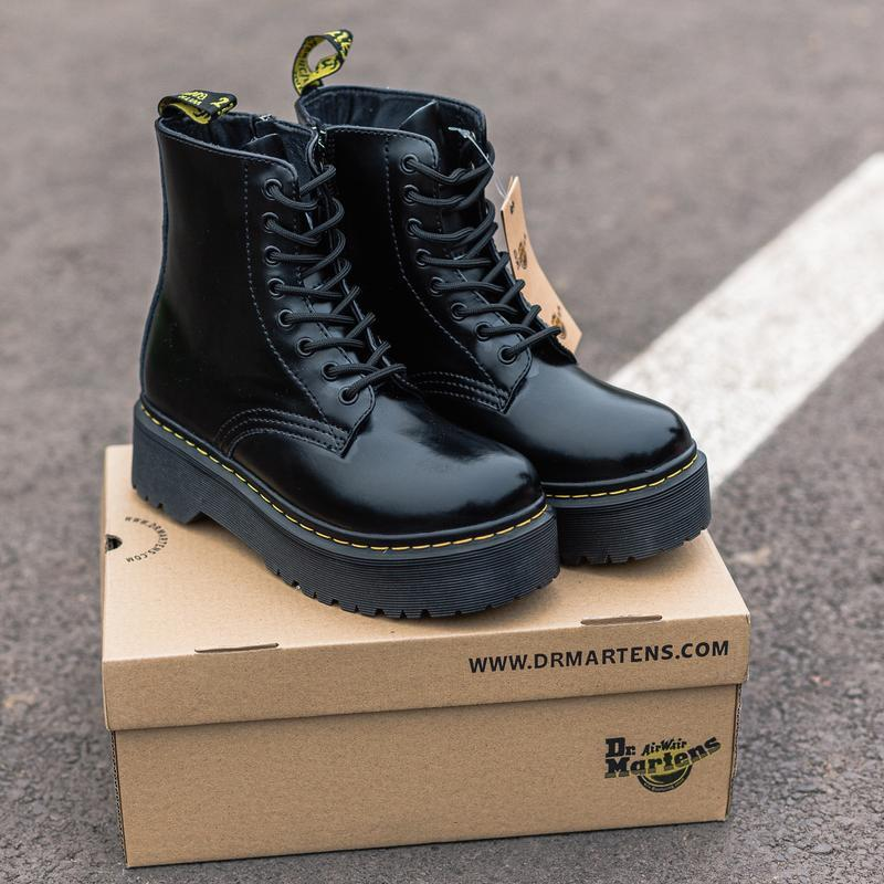 😊dr.martens jadon 🤗 женские ботинки мартинс на платформе чёрны...