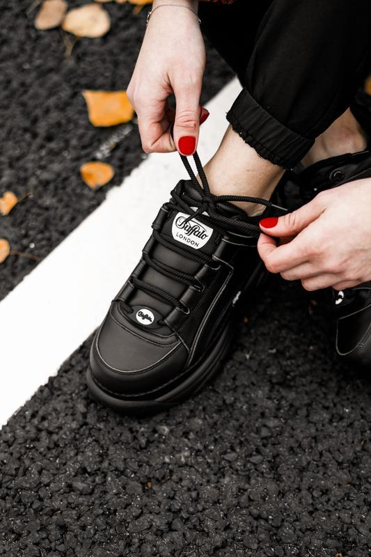 😊buffalo london black🤗 женские кроссовки баффало чёрные весна ... - Фото 6