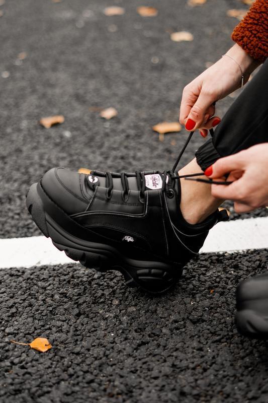 😊buffalo london black🤗 женские кроссовки баффало чёрные весна ... - Фото 9
